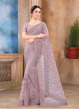 Lavender Color Net Party Wear Saree