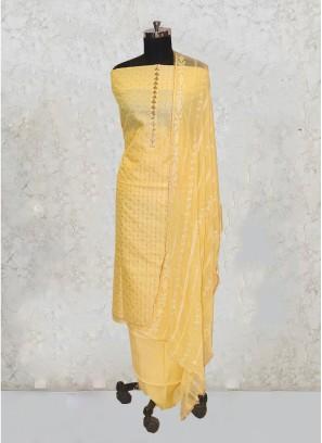 Lemon Yellow Chanderi Silk Sequins Work Salwar Kameez