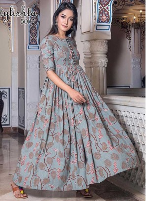Light Blue Color Printed Gown