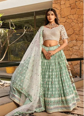 Light Green Color Embroidered Lehenga Choli