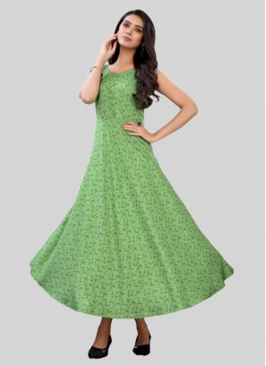 Light Green Color Rayon Stylish Kurti