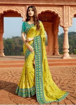 Light Green Color Silk Saree For Ladies