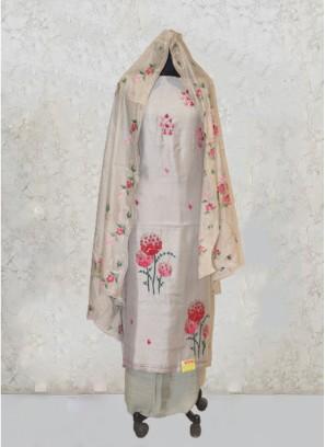 Light Grey Pashina Silk Thread Work Salwar Kameez