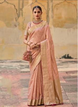 Light Peach Color Jacquard Silk Saree