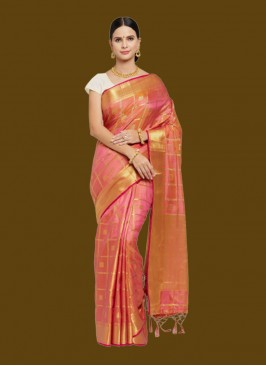 Light Pink Banarsi Art Silk Saree