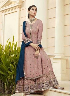 Light Pink Color Faux Georgette Sharara Suit