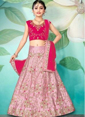Light Pink Color Silk Little Girl Lehenga
