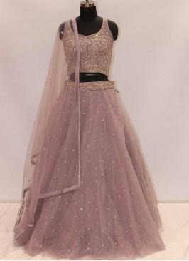 Light Purple Color Net Stone Work Lehenga