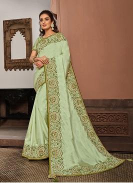Lime Green Color Silk Georgette Saree