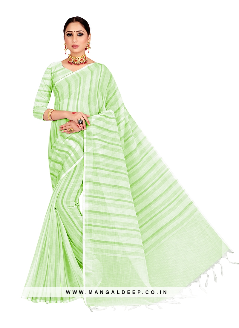 Linen Saree In Green Color