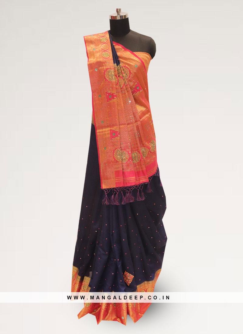 Lovely Blue Color Function Wear Designer Saree