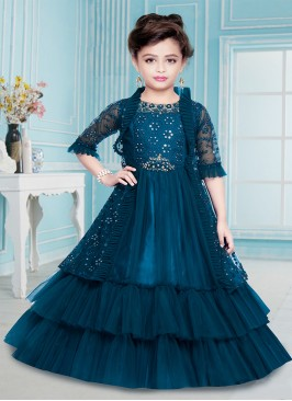 Lovely Blue Color Net Girls Gown