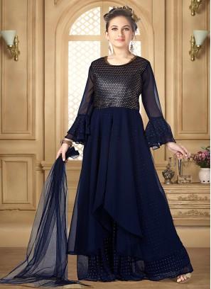 Lovely Blue Color Party Wear Designer Salwar Suit For Kids