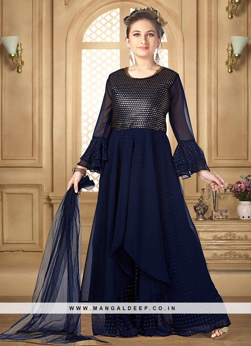 Lovely Blue Color Party Wear Designer Salwar Suit For Kids
