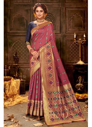 Lovely Fancy Saree Banarasi Silk In Pink Color