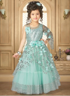 Lovely Green Color Party Wear Designer Gown For Kids