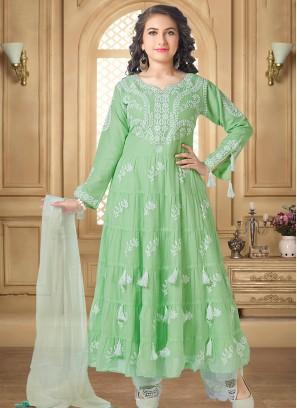 Lovely Green Color Party Wear Designer Salwar Suit For Kids