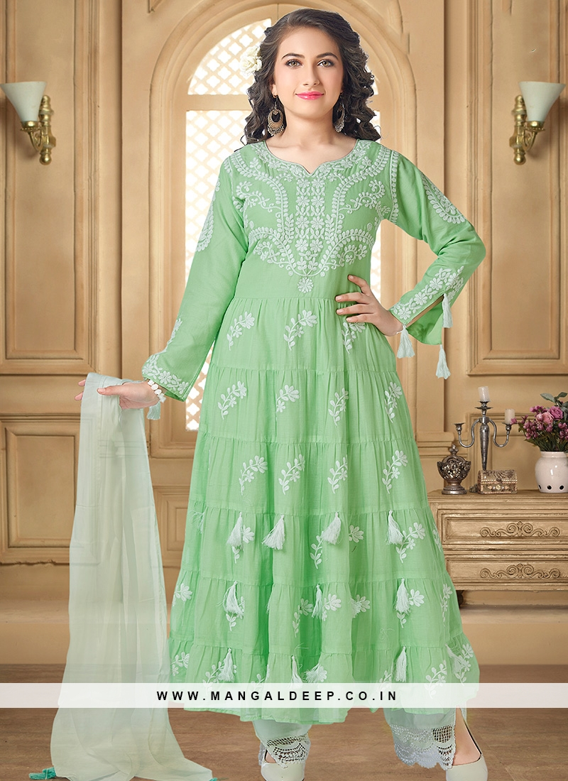 Lovely Green Color Party Wear Designer Salwar Suit For Kids