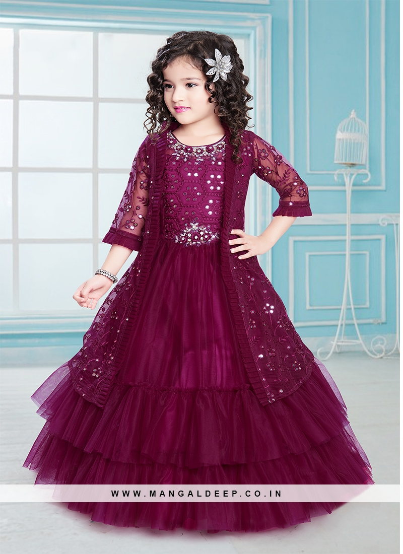 Lovely Purple Color Net Girls Gown