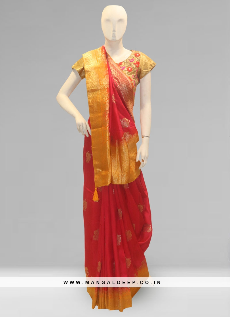 Lovely Rani Color Party Wear Silk Saree