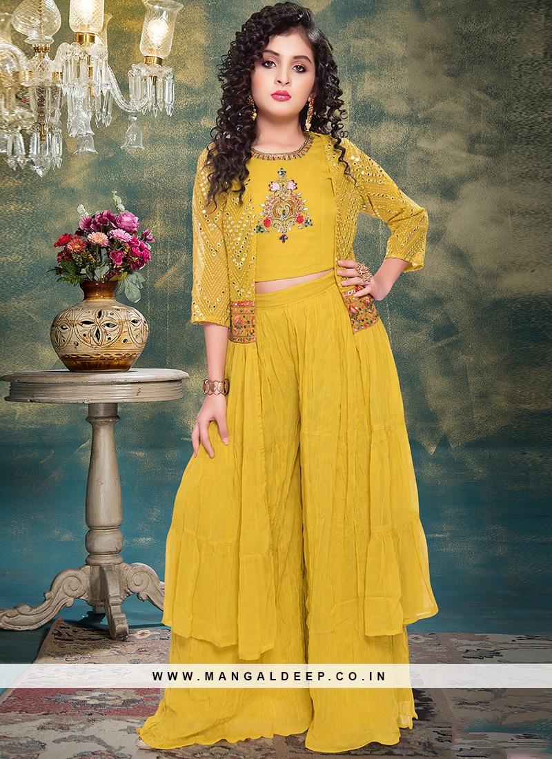 Lovely Yellow Color Designer Dress For Kids