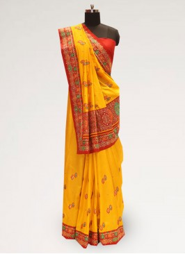 Lovely Yellow Color Function Wear Designer Saree