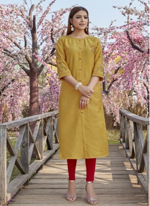 Lovely Yellow Color Function Wear Kurti