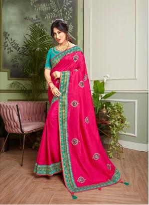 Magenta Color Embroidered New Design Saree