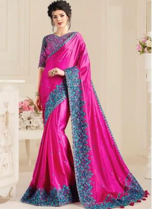 Magenta Color Natural Fabric Classic Saree