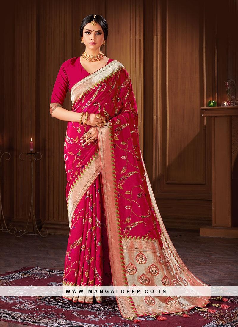 Magenta Color Silk Saree For Women