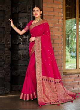 Magenta Color Silk Stylish Saree