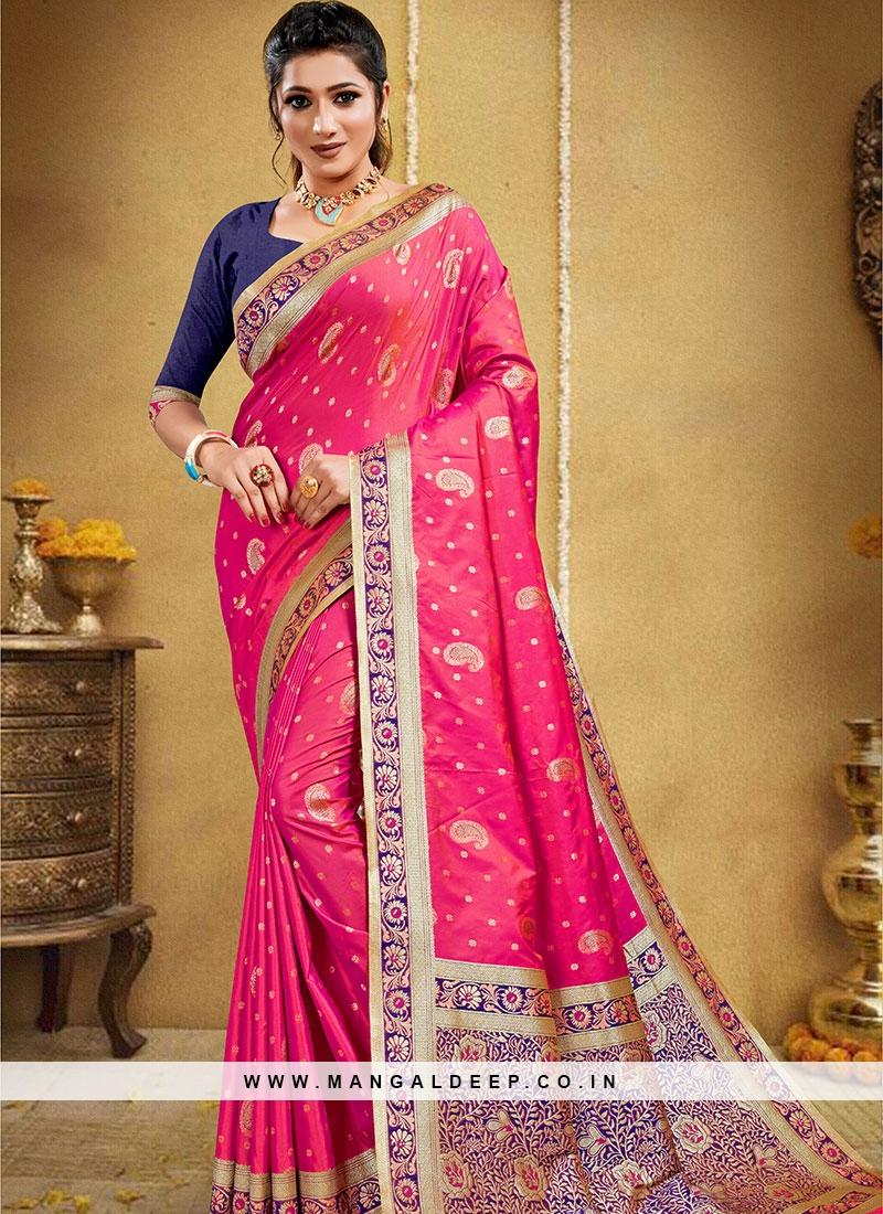Magenta Color Silk Woven Work New Saree