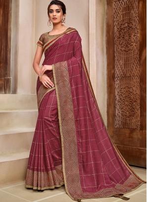 Magenta Pink Color Fancy Silk Saree