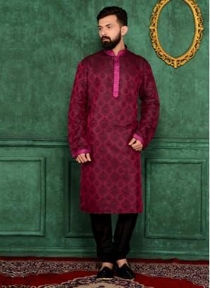 Magenta Printed Kurta Pajama