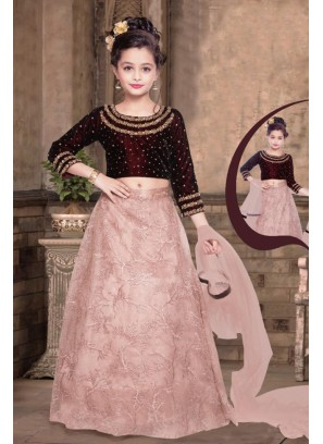 Maroon And Pink Color Velvet Kids Lehenga