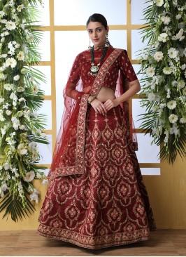 Maroon Color Art Silk Wedding Wear Lehenega
