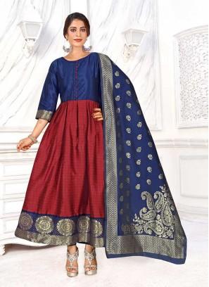 Maroon Color Banarasi Silk Kurti Set