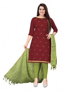 Maroon Color Cotton Salwar Kameez