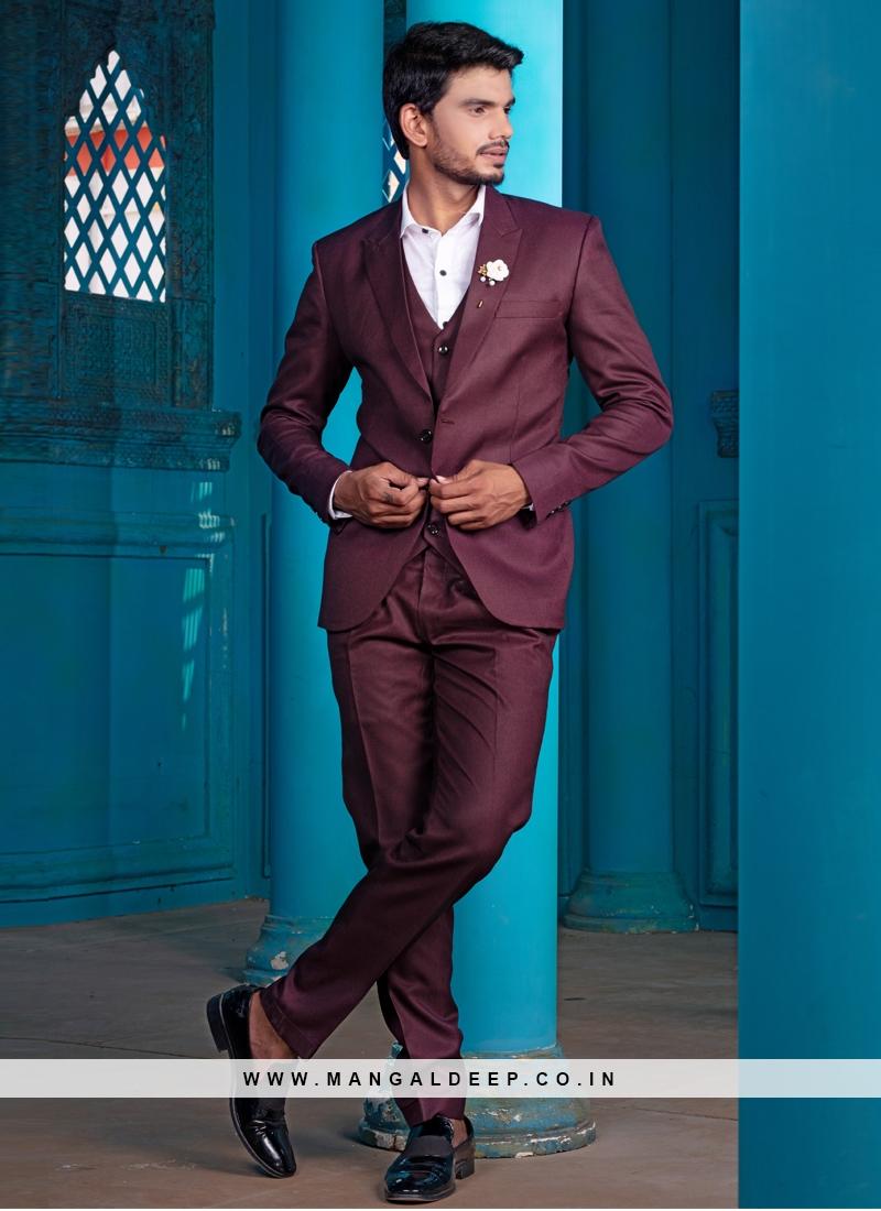 Maroon Color Designer Mens Suit