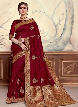 Maroon Color Designer Saree With Unstitched Blouse