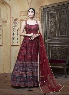 Maroon Color Fancy Long Dress