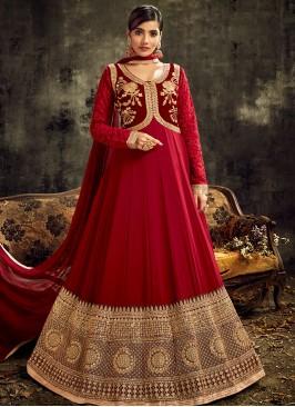 Maroon Color Georgette Anarkali Suit