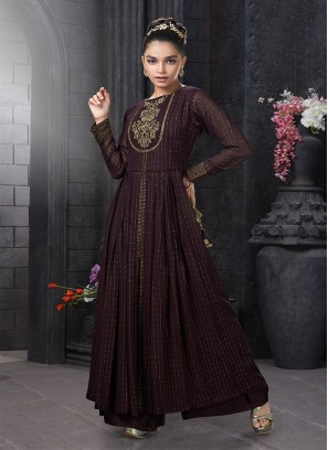 Maroon Color Georgette Baby Girls Wear