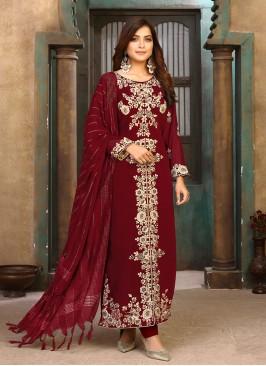 Maroon Color Georgette Embroidered Salwar Kameez
