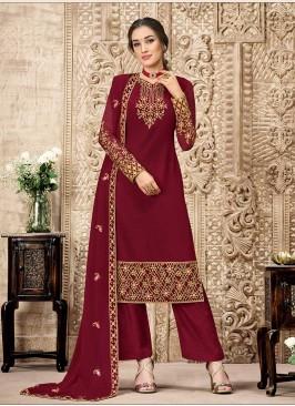 Maroon Color Georgette Embroidered Salwar Suit