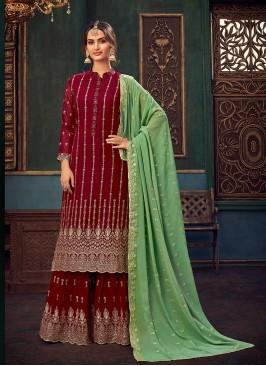 Maroon Color Georgette Ladies Palazzo Dress