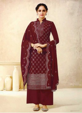 Maroon Color Georgette Plazzo Suit