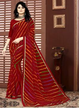 Maroon Color Georgette Printed Saree