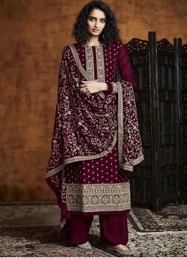 Maroon Color Georgette Salwar Kameez