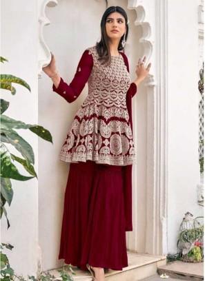Maroon Color Georgette Sharara Dress